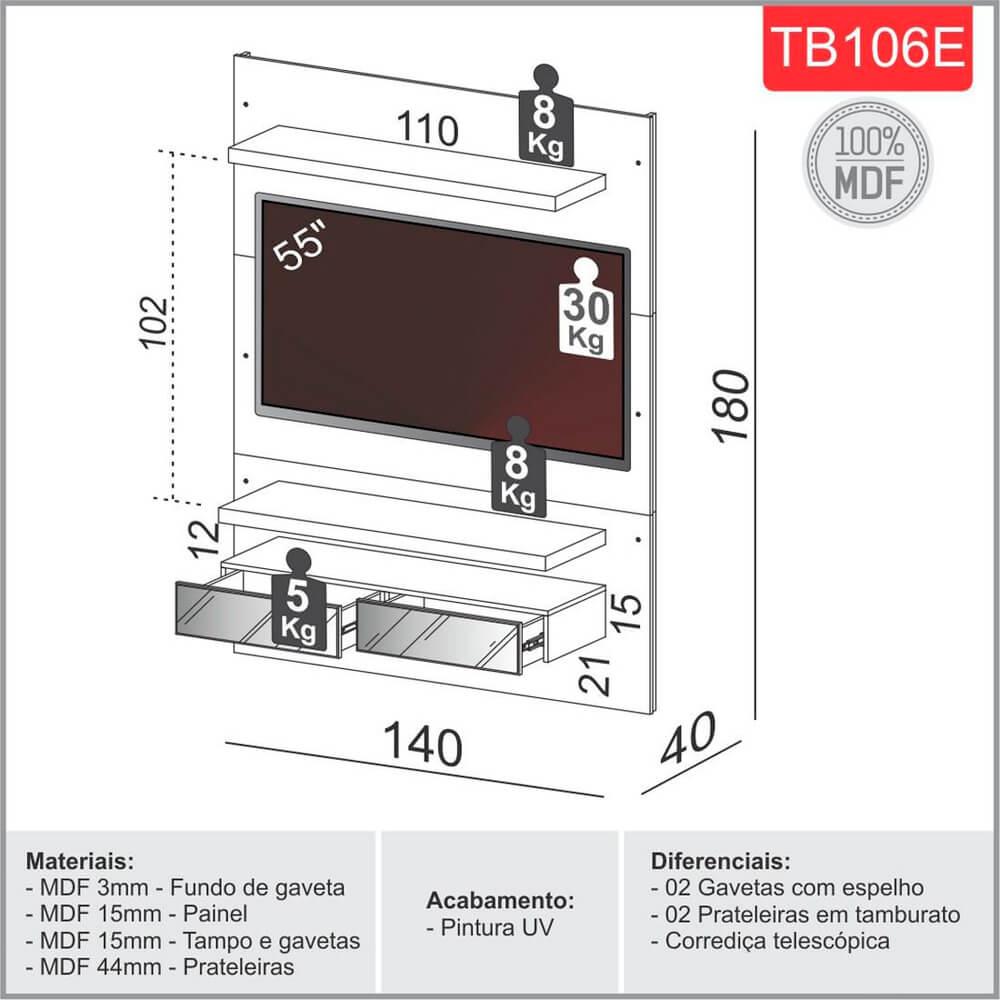 """Painel para TV até 55"""" 2 Gavetas e LED TB106e Off-White/Freijó - Dalla Costa"""
