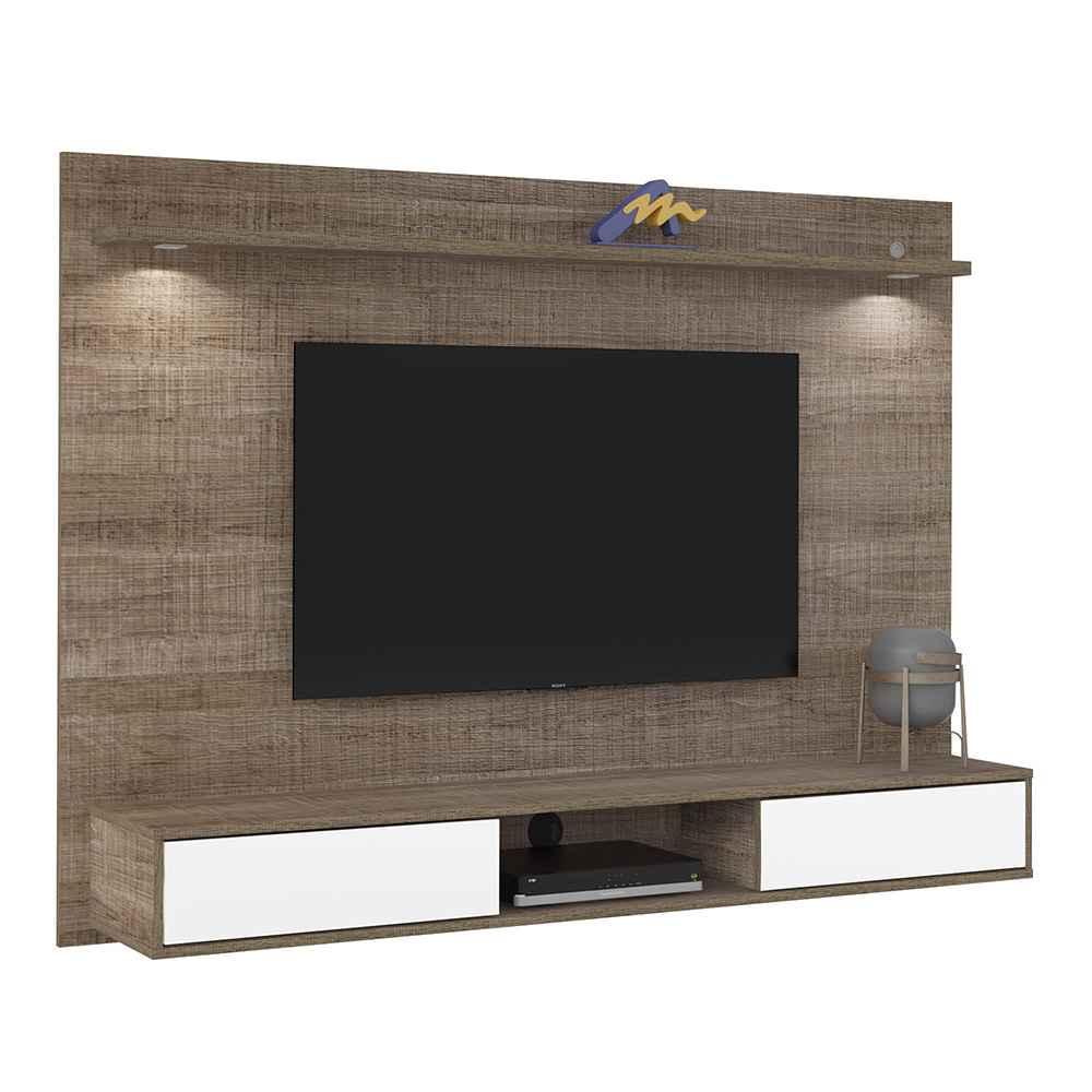 """Painel para TV até 60"""" 2 Portas com Espelho e LED Platinum Canela - Artely"""