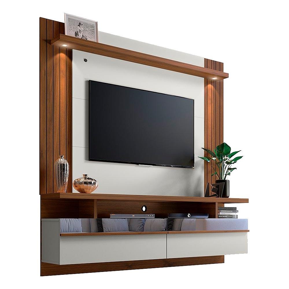 Painel para TV Até 65 Polegadas com LED e 2 Portas São Luis 1.8 Off-White/Nogueira - Línea Brasil