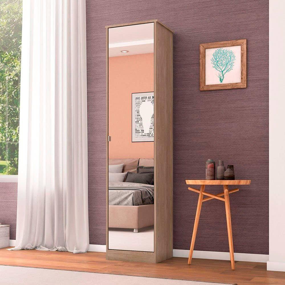 Sapateira Multiuso 1 Porta Com Espelho Reflex Nogal Touch - Demóbile