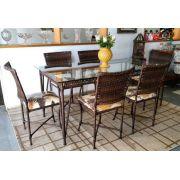 Conjunto de Mesa com 6 cadeiras Fibra Sintética