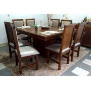 Mesa 1,40 x 1,40 c/ 8 Cadeiras Madeira Maciça