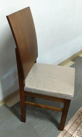 Cadeira Estofado Encosto Curvo Madeira Maciça