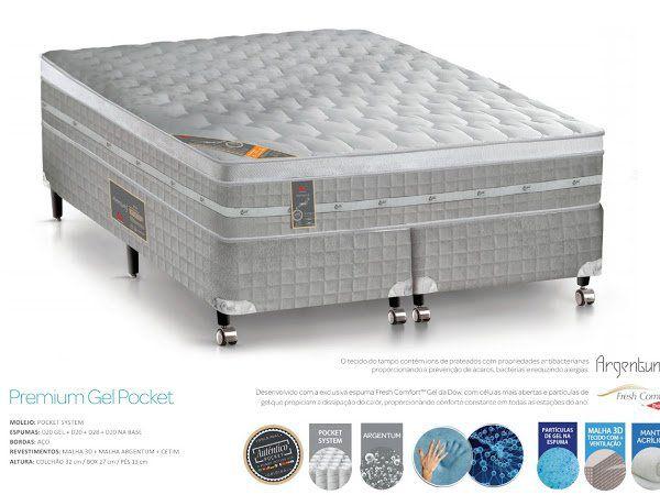 Colchão com Box Premium Gel Poket 1,58 Castor45