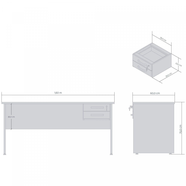 Escrivaninha 1,60 com 2 gavetas