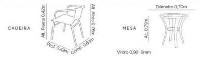 Mesa Redonda 3 Cadeiras Fibra Sintética