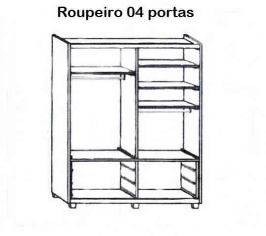 Roupeiro 04 Portas 6 Gavetas Madeira Maciça/MDF