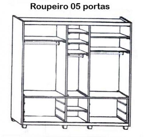 Roupeiro 05 portas 6 Gavetas Madeira Maciça/MDF