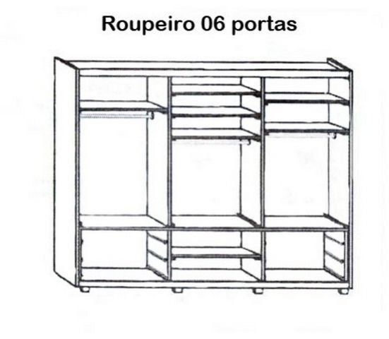 Roupeiro 06 portas 6 Gavetas Madeira Maciça/MDF 2,78 m