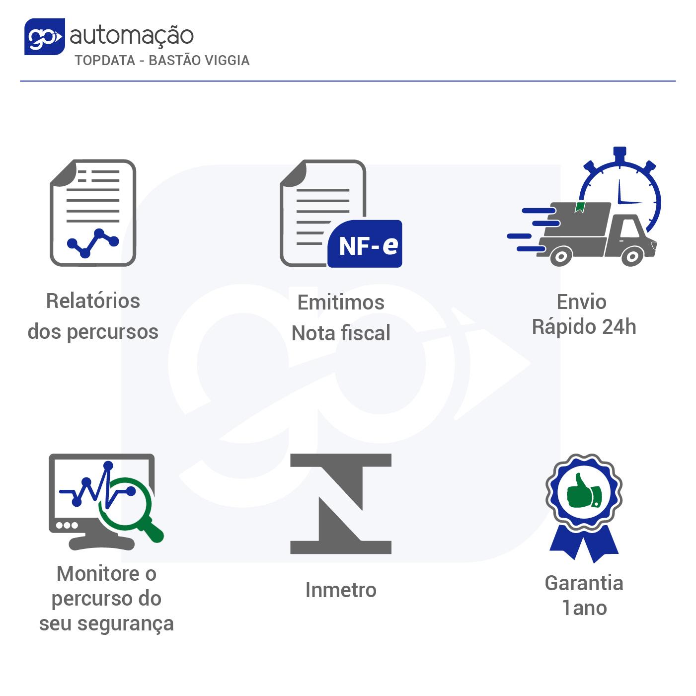 Bastão de Ronda Eletrônica Topdata Viggia + 6 iButtons  - GO AUTOMAÇÃO