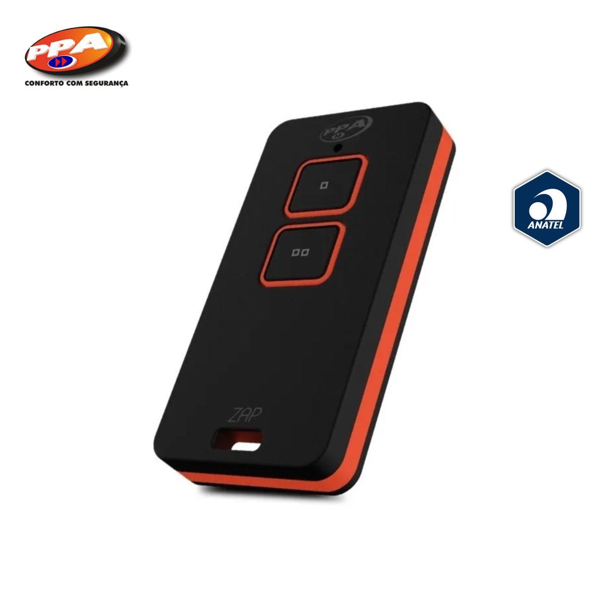 Controle Remoto PPA ZAP - Portão Alarme Cerca Elétrica 433MHZ 2b (Preto / Laranja)  - GO AUTOMAÇÃO
