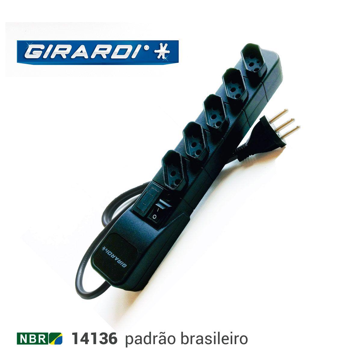 Filtro de Linha Bivolt Eco Extensão 5 Tomadas Preto Girardi