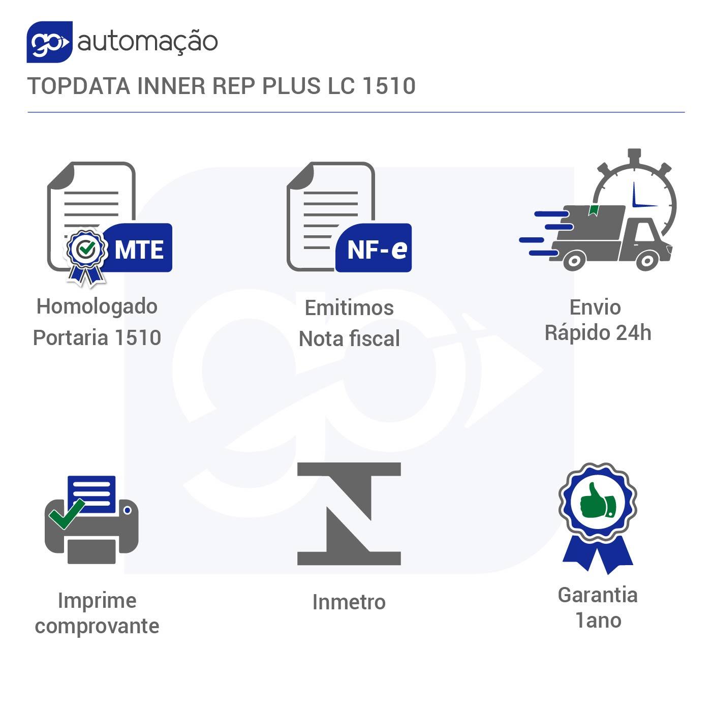 Relógio De Ponto 1510 TOPDATA Inner Rep Plus Lc Bio/Prox  - GO AUTOMAÇÃO