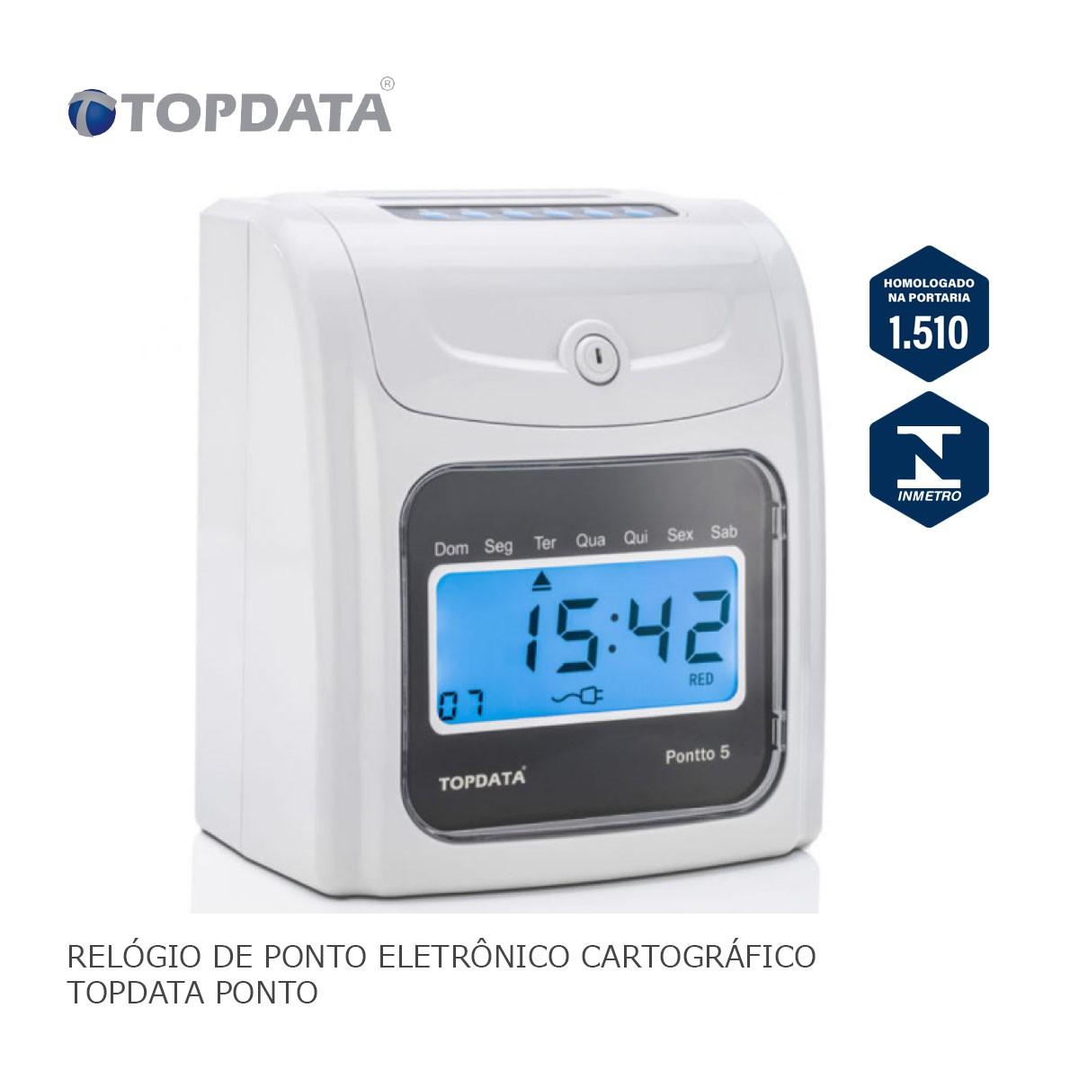 Relógio de Ponto Eletrônico Cartográfico Topdata Pontto 5