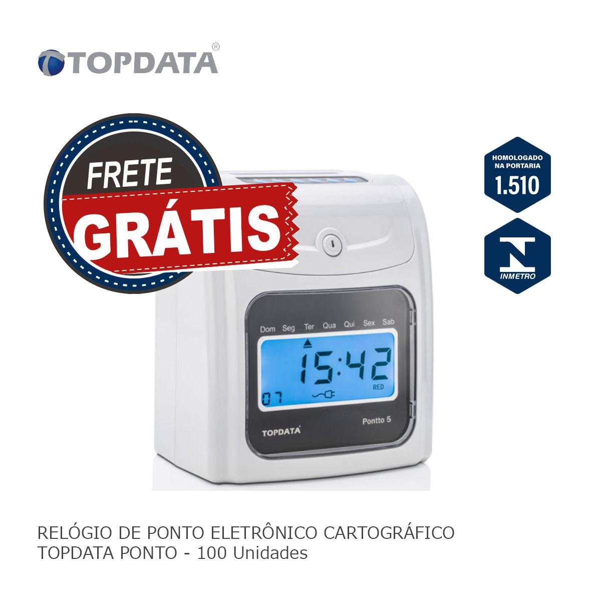 Relógio de Ponto Eletrônico Cartográfico Topdata Pontto 5 + Cartão 100 Und