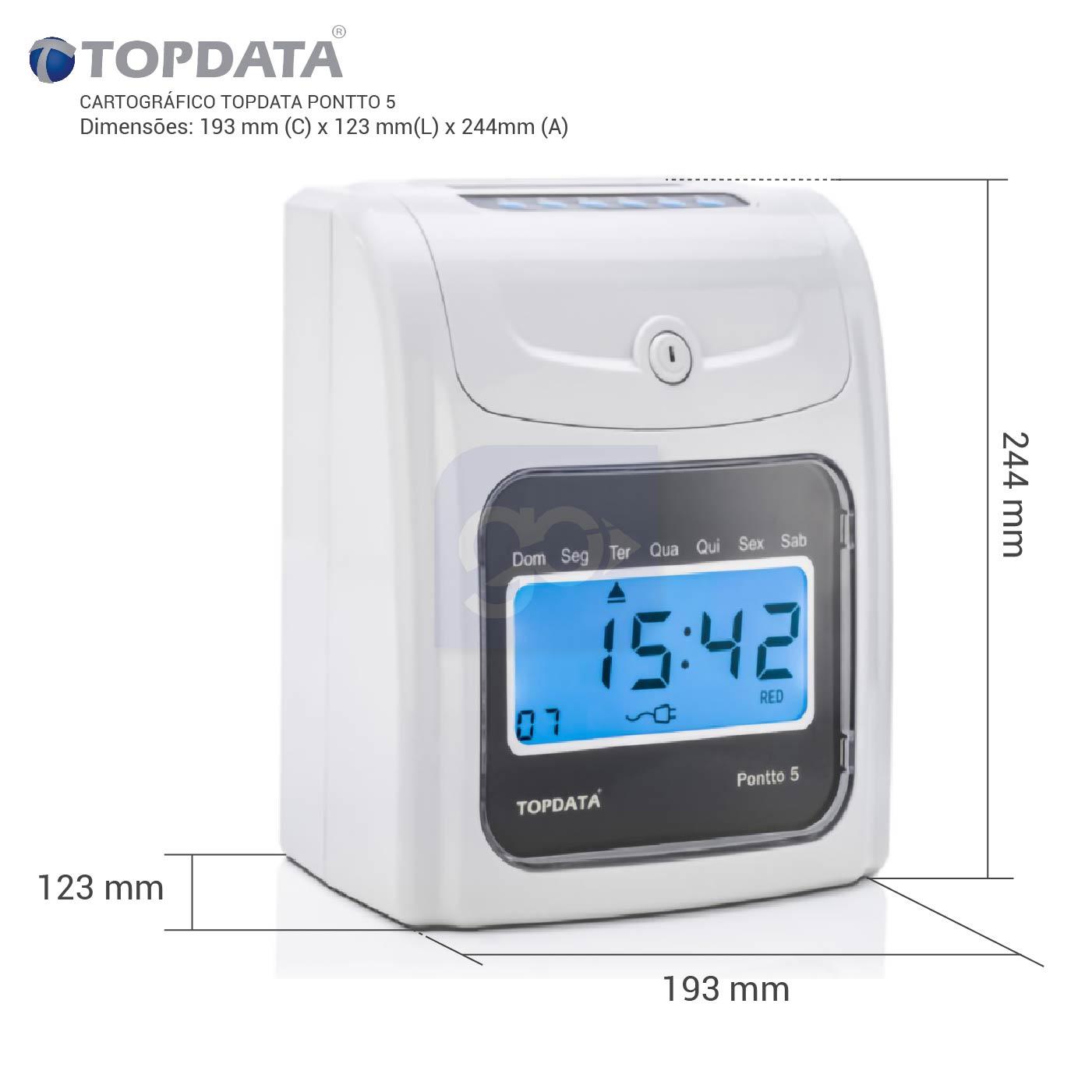 Relógio de Ponto Eletrônico Cartográfico Topdata Pontto 5 + Cartão 100 Und   - GO AUTOMAÇÃO