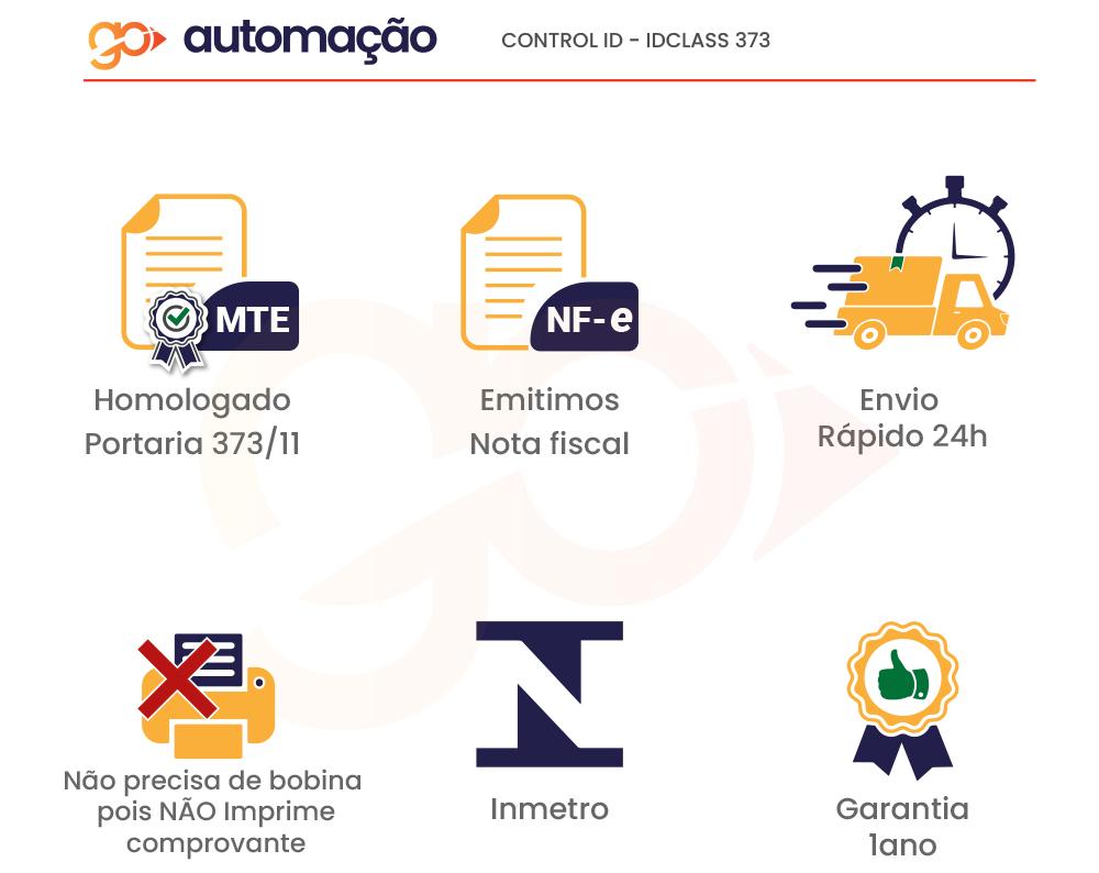 Relógio de Ponto Eletrônico iDClass 373 Biométrico + Prox Control iD  - GO AUTOMAÇÃO