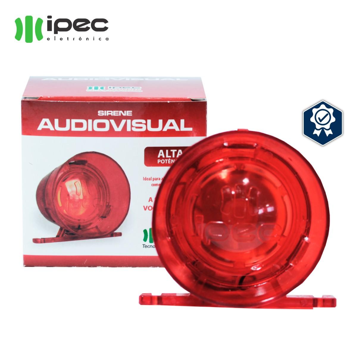 Sirene Para Alarmes Audivisual 12v Com Luz Vermelha Potente ipec