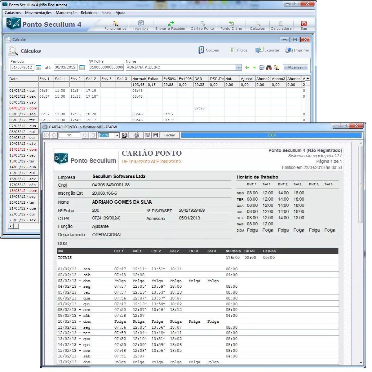 Software de Controle de Ponto Secullum Ponto 4 p/ 200 Usuários Com Suporte