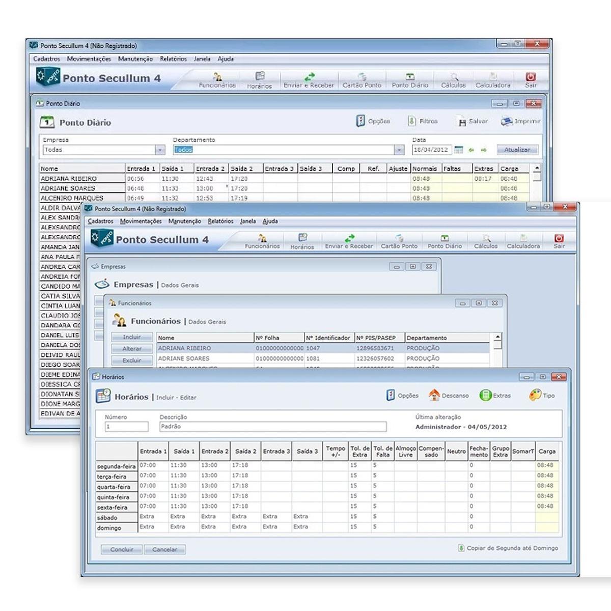Software de Controle de Ponto Secullum Ponto 4 p/ 200 Usuários Sem Suporte
