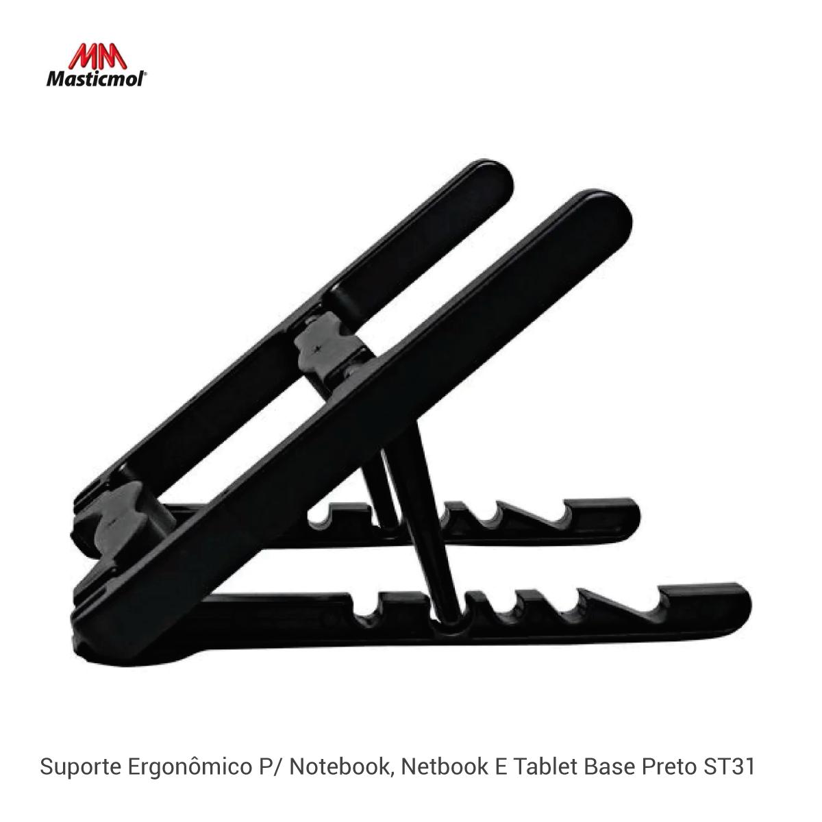 Suporte Ergonômico P/ Notebook, Netbook E Tablet Base Preto ST31  - GO AUTOMAÇÃO