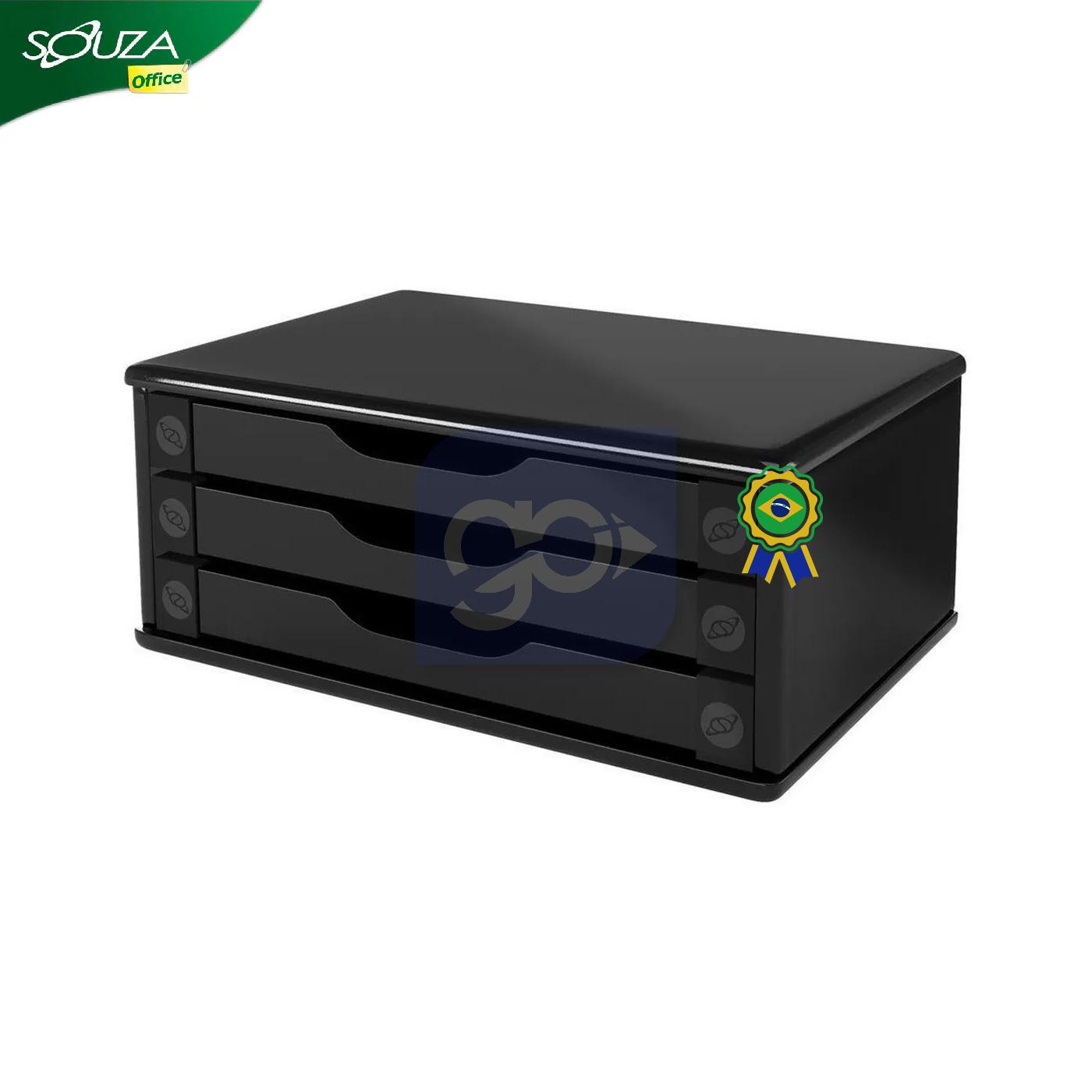 SUPORTE PARA MONITOR 3 GAVETAS MDF BLACK SOUZA  - GO AUTOMAÇÃO