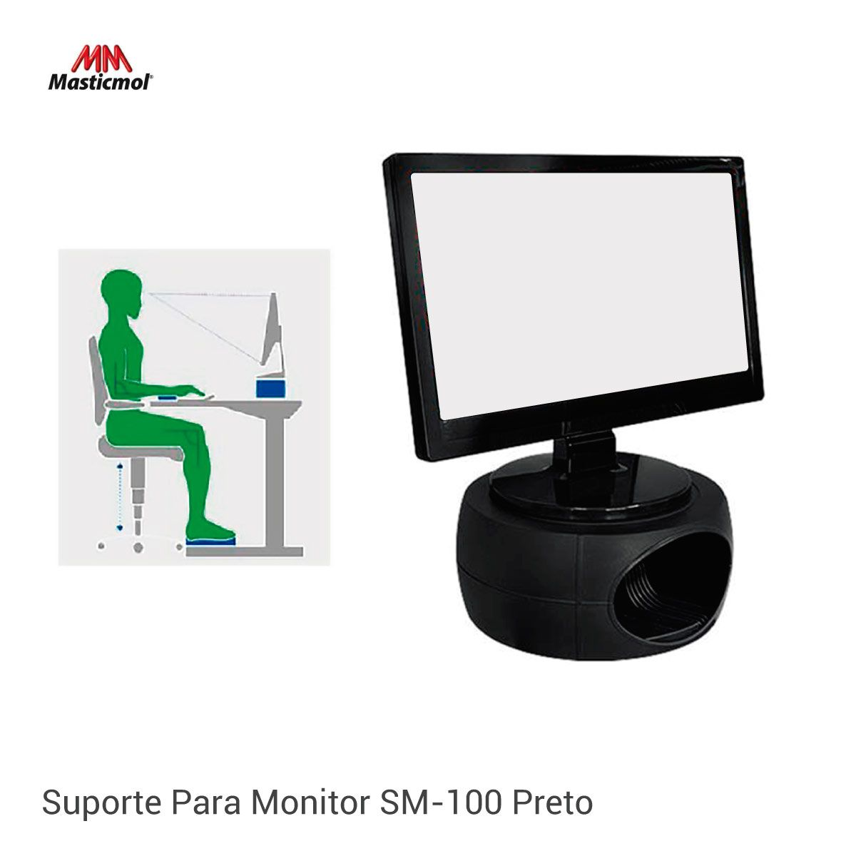 Suporte Para Monitor Sm-100 Preto - Masticmol