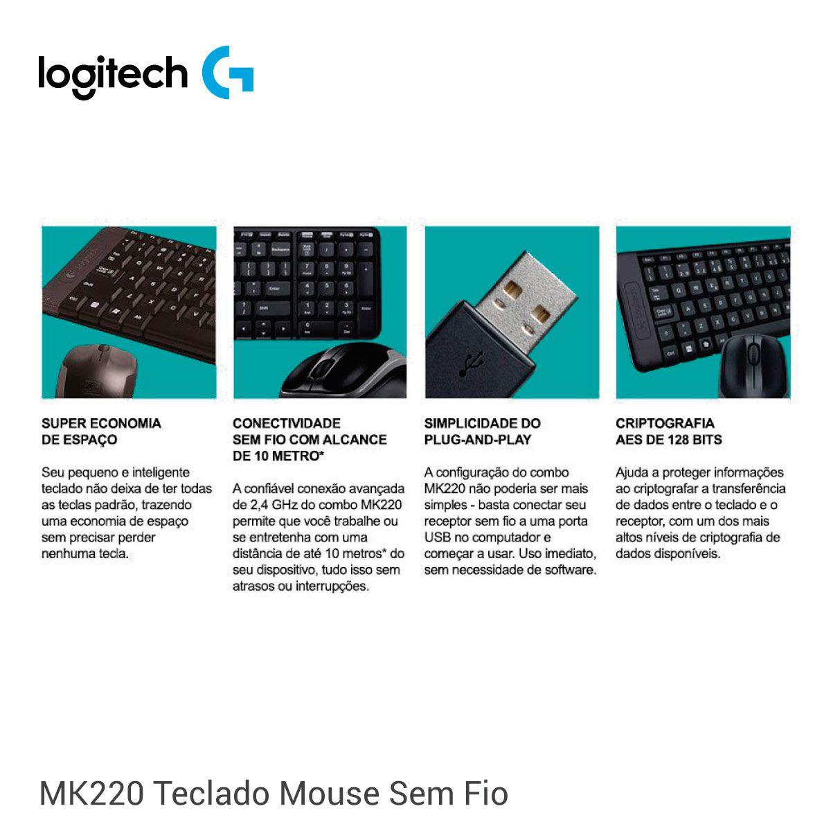 Teclado E Mouse Sem Fio Combo Logitec Mk220 Wireless