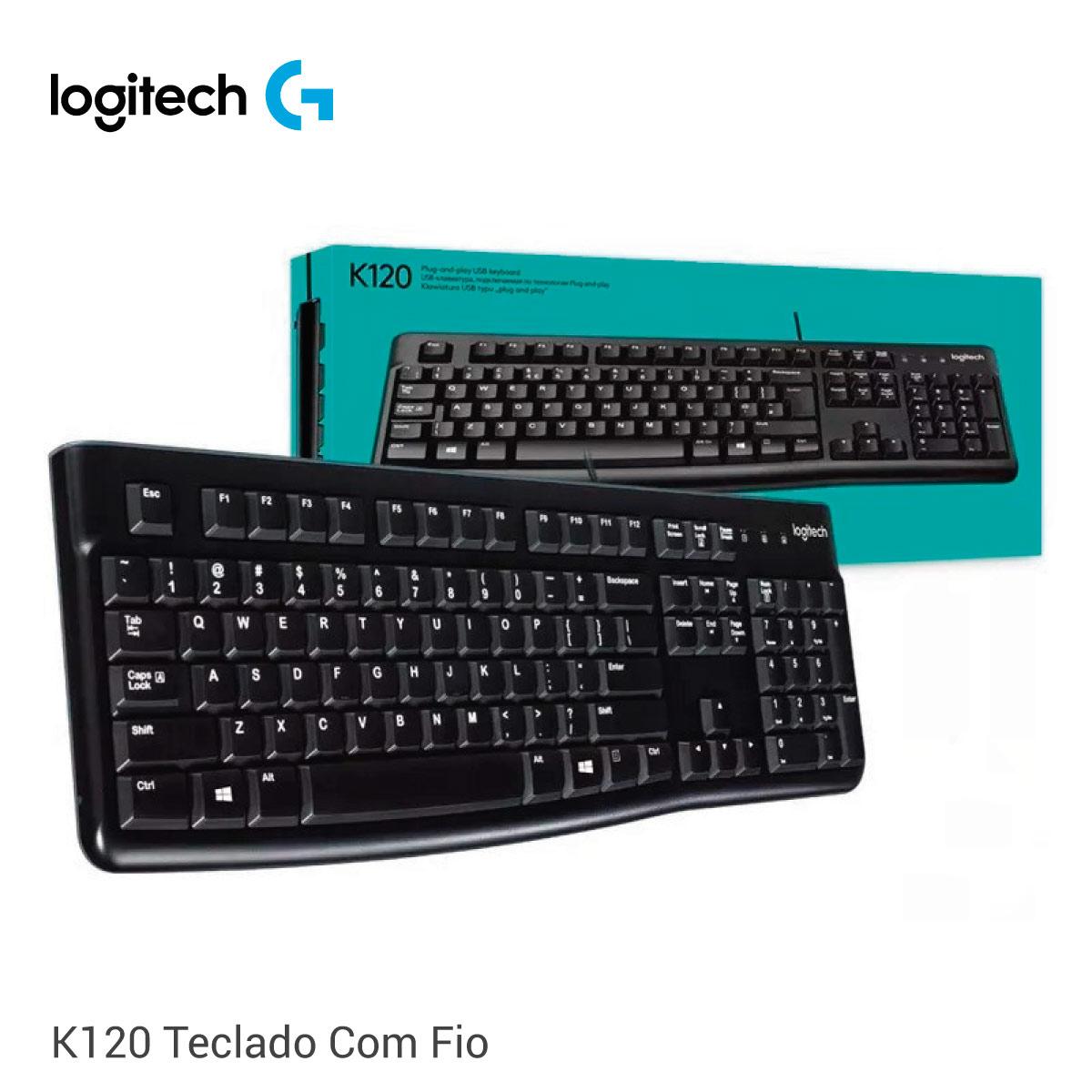 Teclado Logitech K120 Com Fio  - GO AUTOMAÇÃO
