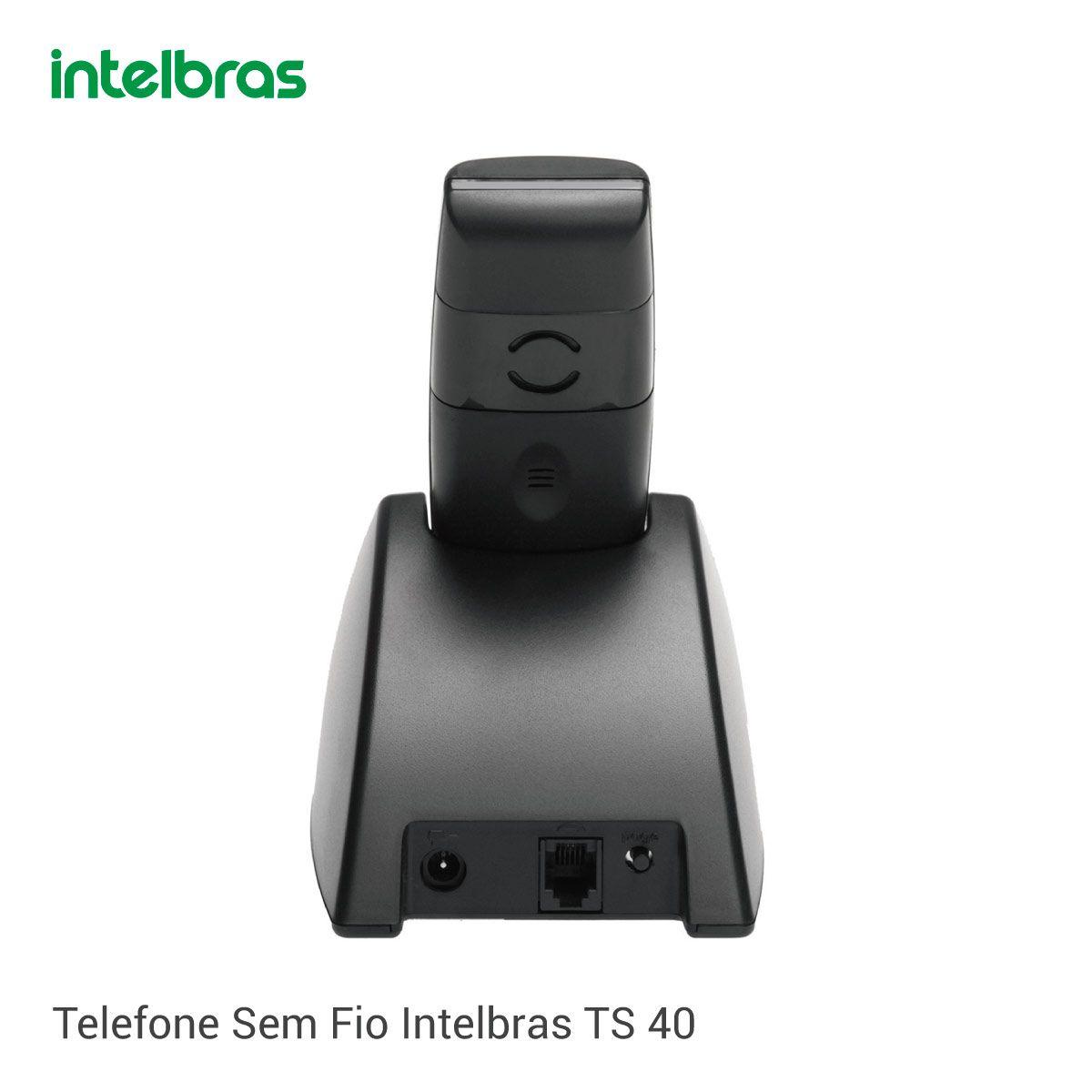 Telefone Sem Fio Intelbras TS 40 ID - Identificador de Chamada Preto  - GO AUTOMAÇÃO