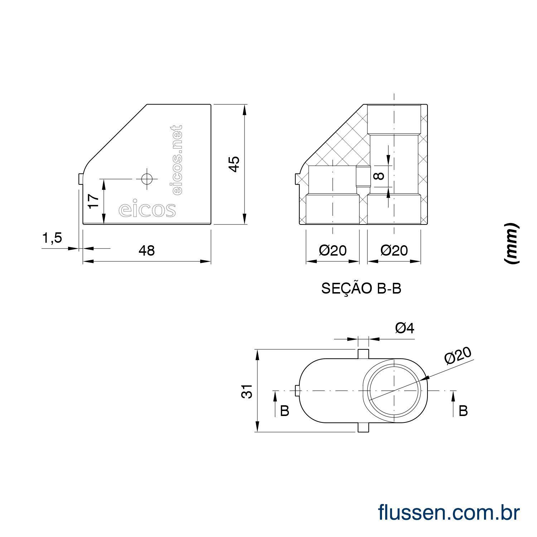 Adaptador PVC Vertical 20x20