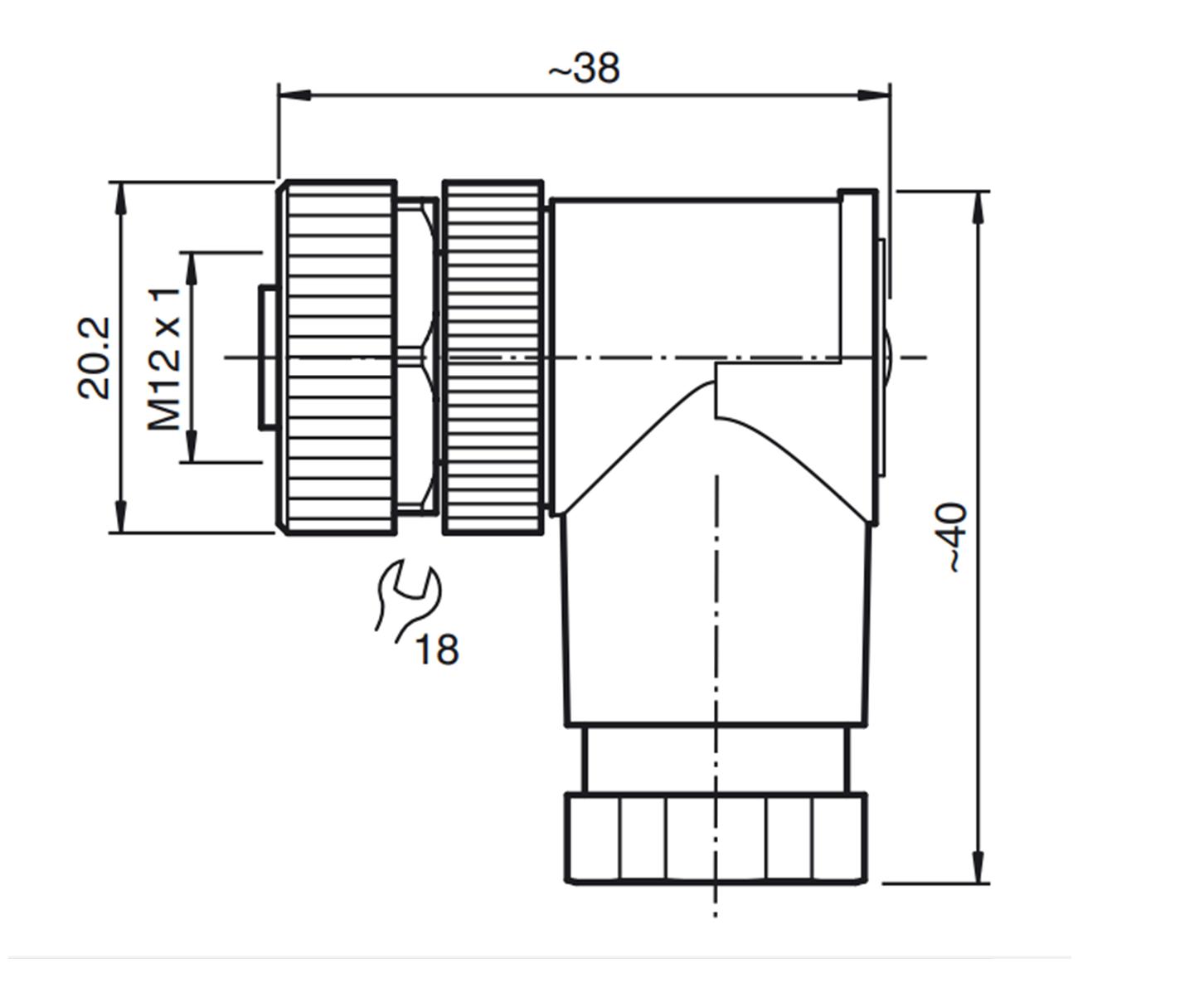 Conector M12 90° Fêmea