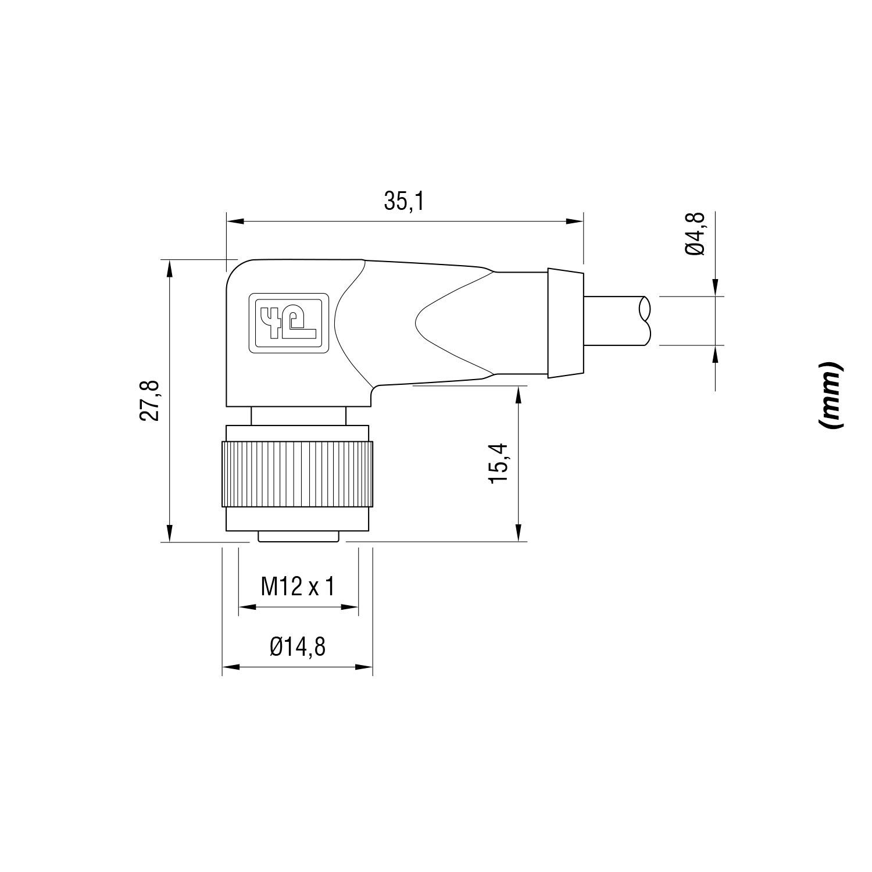 Conector M12 90º 5m