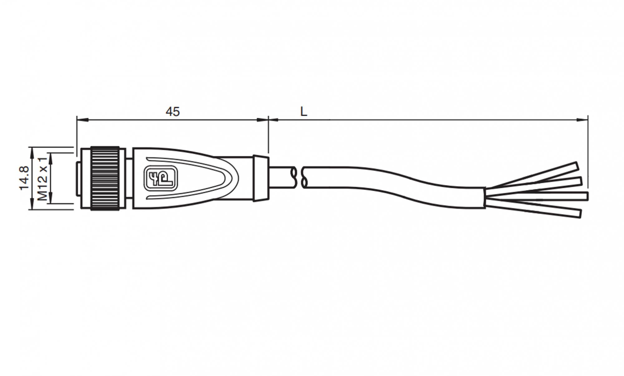 Conector M12 Reto 2m
