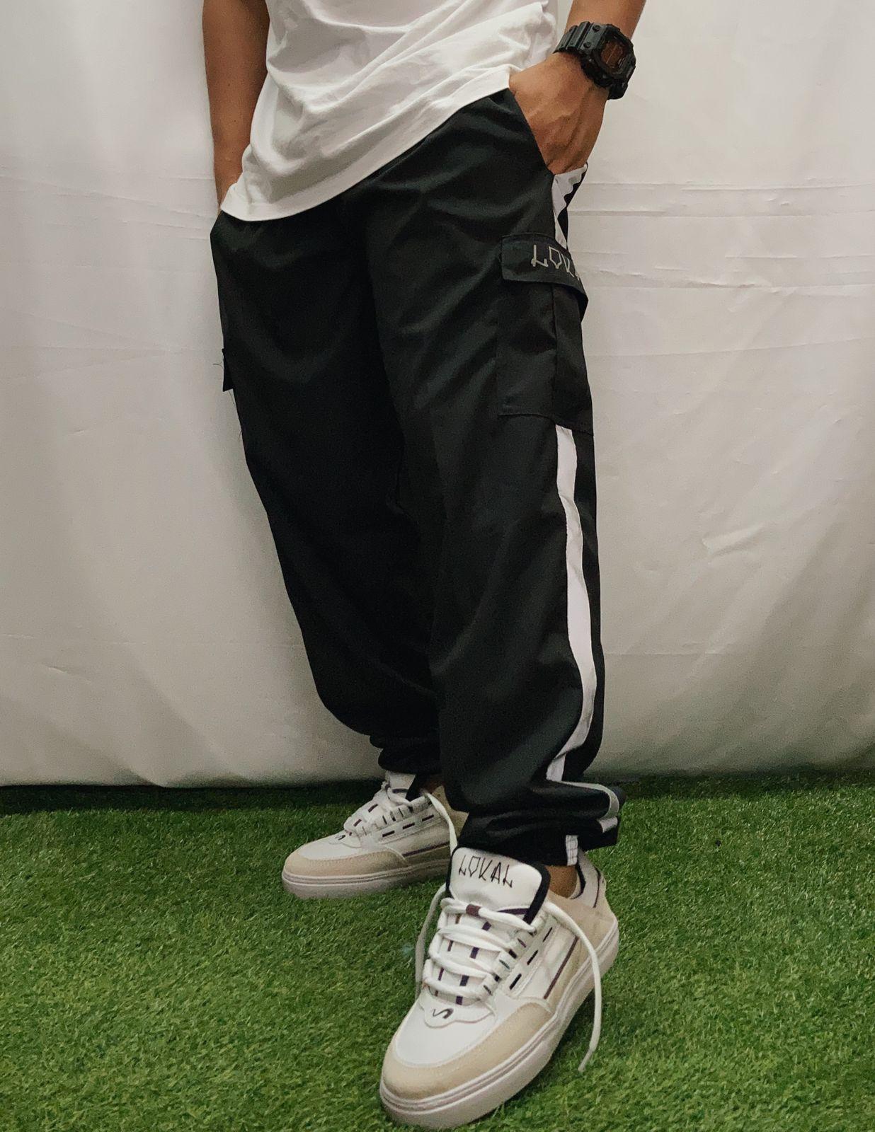 Calça lokal cargo jogger elastano refletiva preta