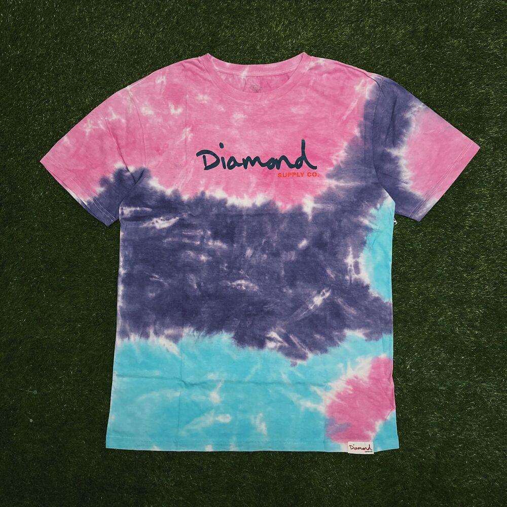 Camiseta diamond og script tie dye pink