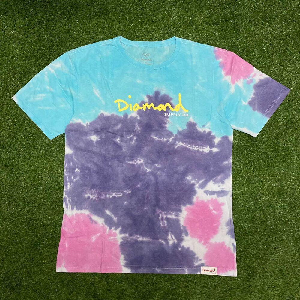 Camiseta diamond og script tie dye purple