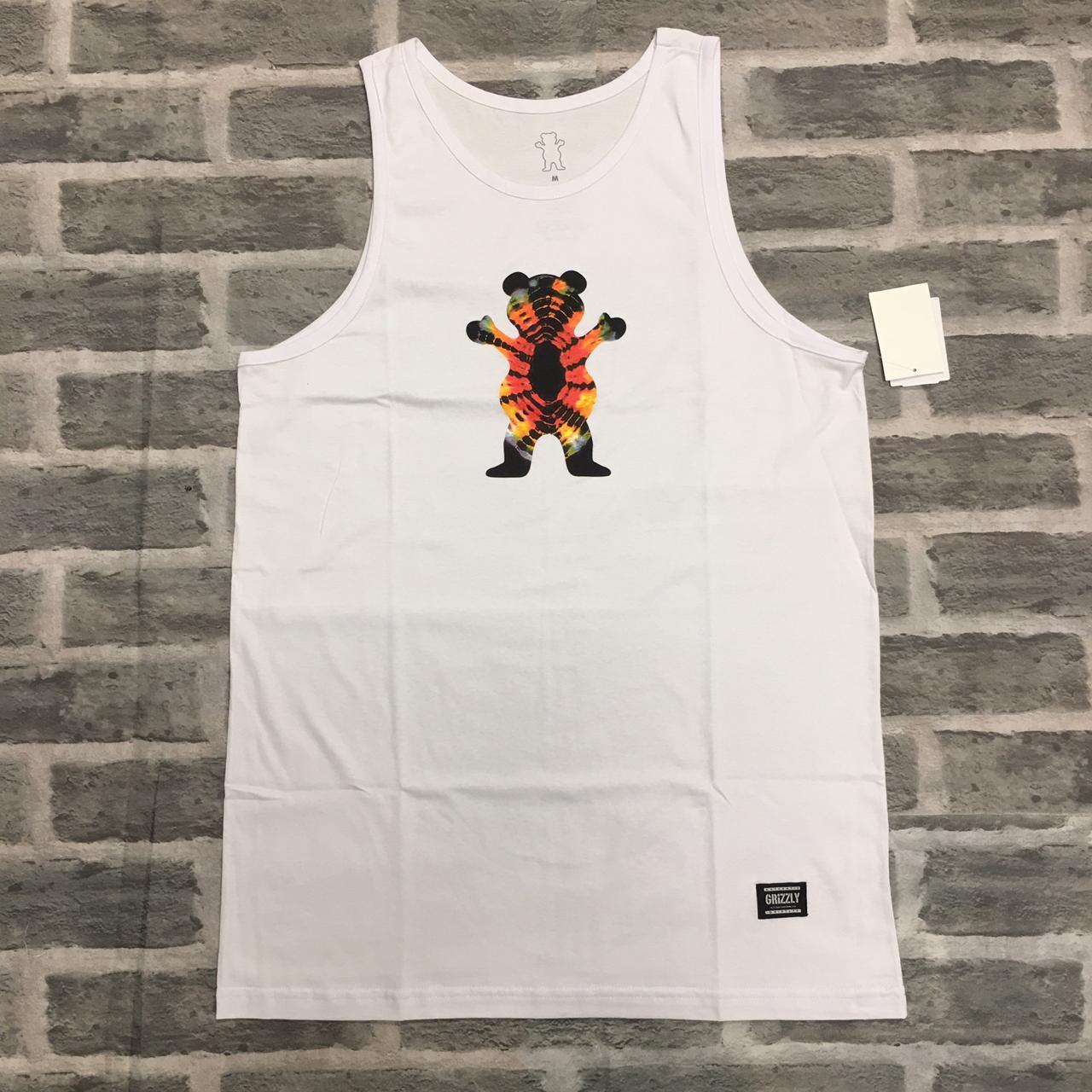 Camiseta regata grizzly og bear tie dye branca