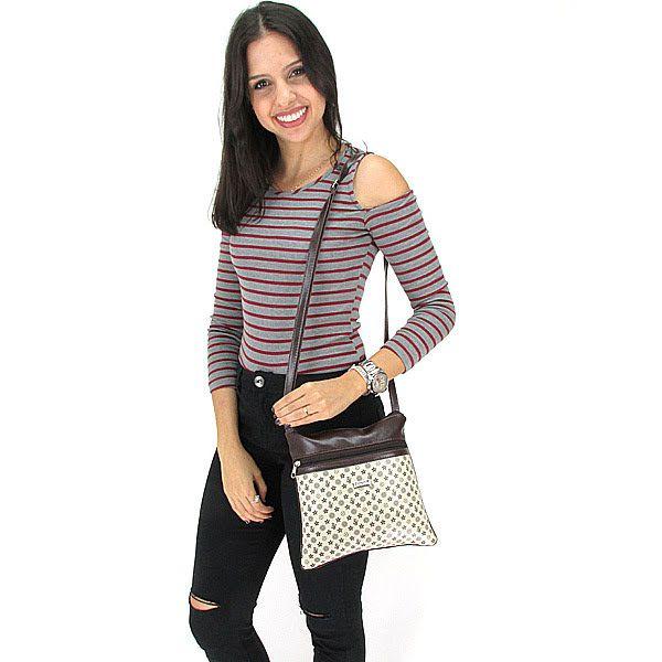 Bolsa Feminina Tiracolo Pequena Fashion Brasil - Bege Estrela