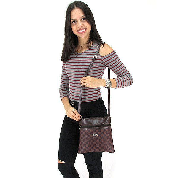 Bolsa Feminina Tiracolo Pequena Fashion Brasil - Marrom