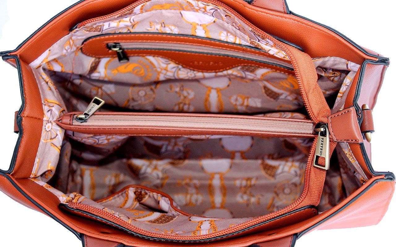 Bolsa Feminina Veryrio Caramelo 3 peças