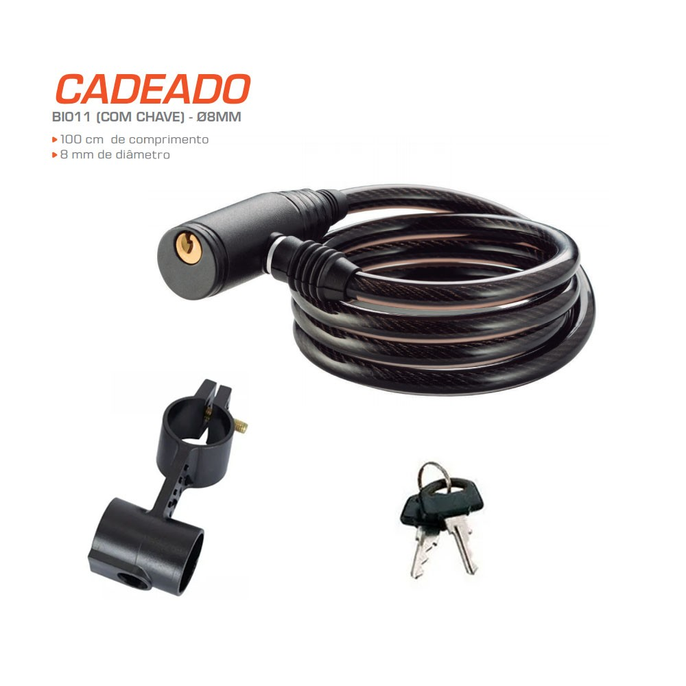 Cadeado Para Bike Com Chave Cabo 8MM - BI011