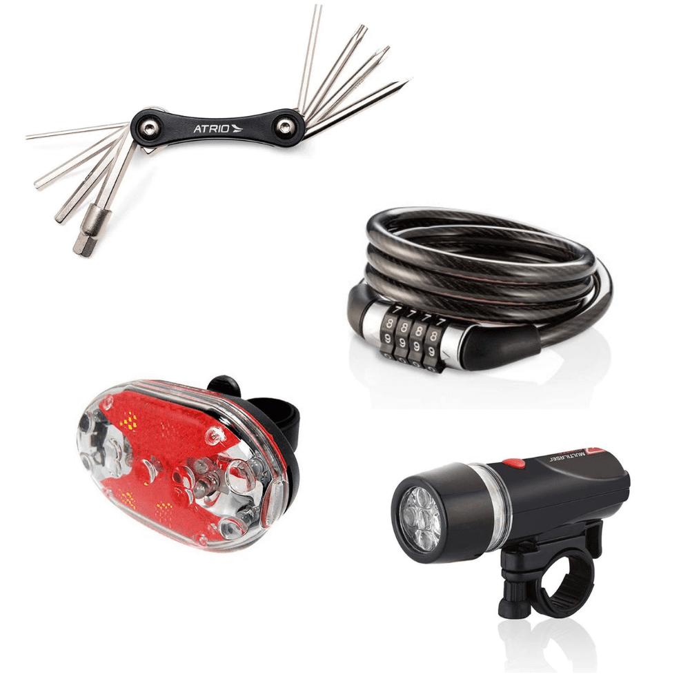 Kit Cadeado 8mm com Senha, Ferramenta 9 Funções  e Faróis Para Bike Atrio
