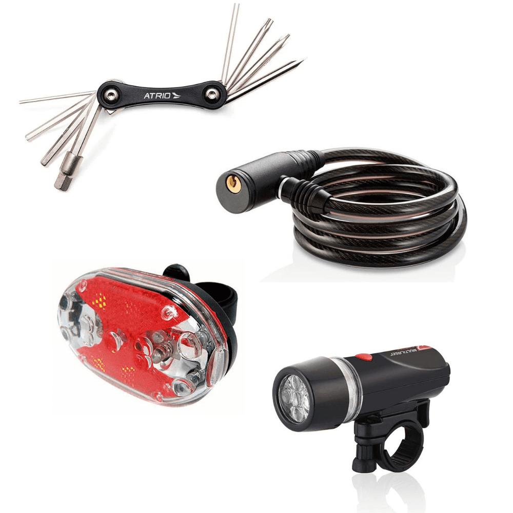 Kit Cadeado com Chave, Ferramenta 9 Funções  e Faróis Para Bike Atrio