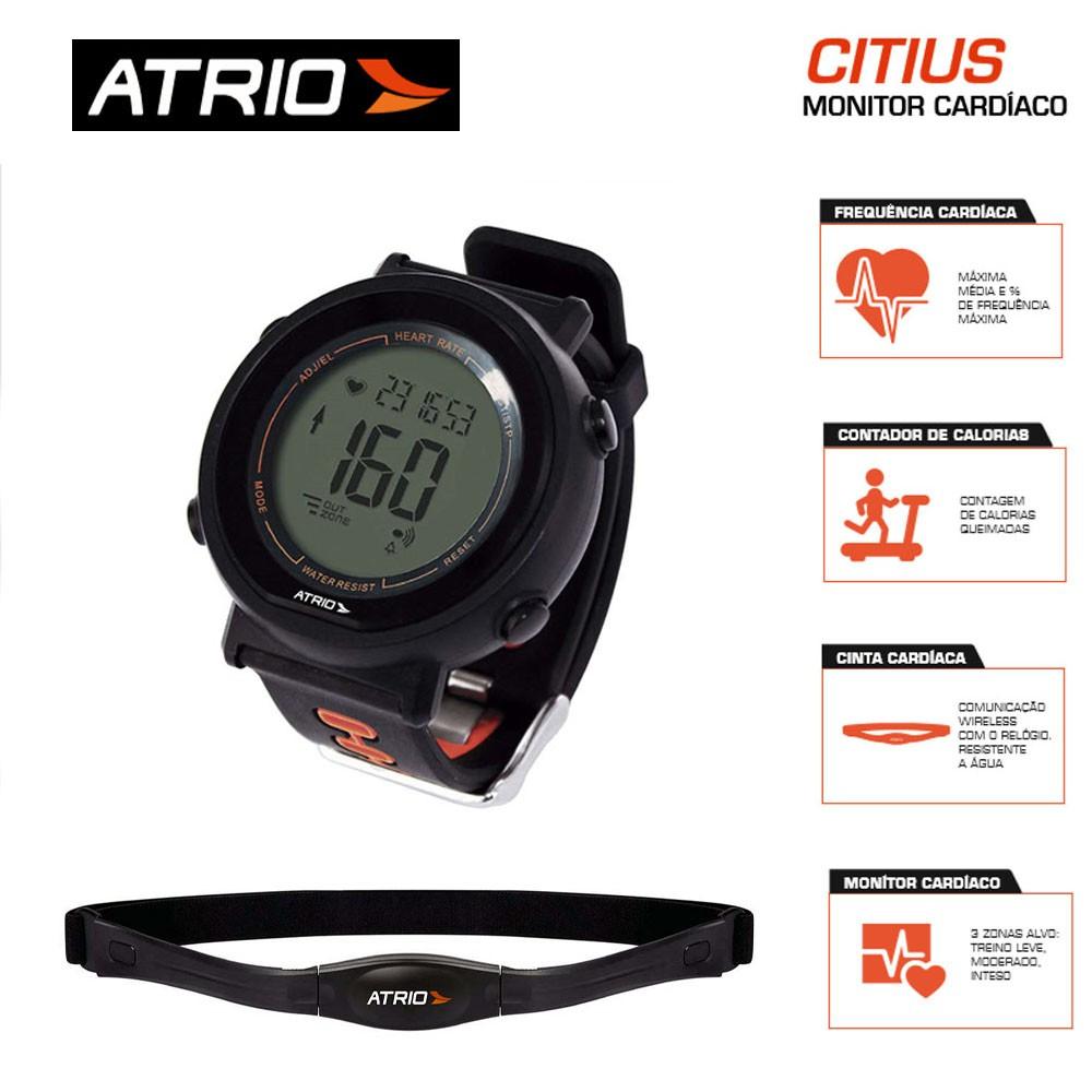 Relogio Monitor Cardíaco + Cinta Fortius com Contador de Calorias Cronômetro Alarme Atrio
