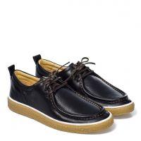 Sapato Casual Couro Legítimo Preto Sola Bege Forro de Couro