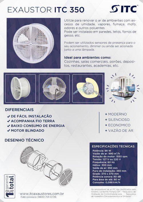 EXAUSTOR ITC 350  COM MOTOR BLINDADO 127 V