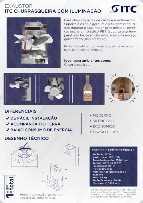 EXAUSTOR ITC CHURRASQUEIRA COM ILUMINAÇÃO 220 V