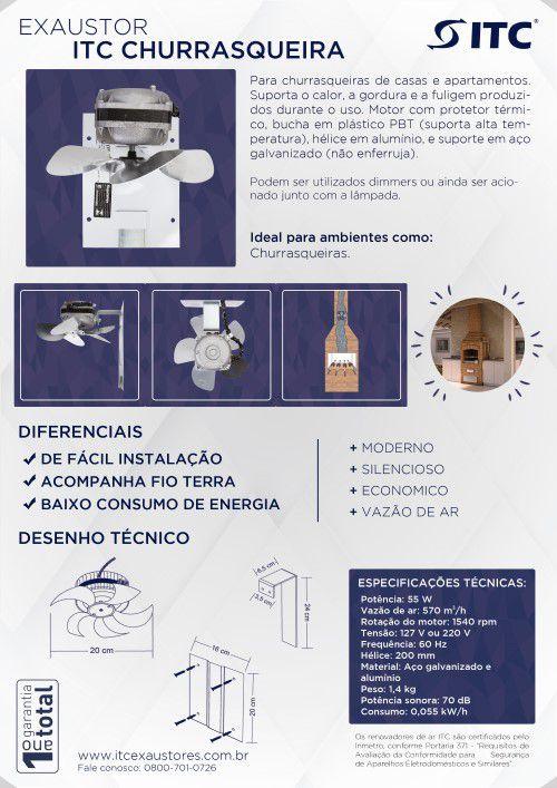 EXAUSTOR ITC CHURRASQUEIRA SEM ILUMINAÇÃO  220 V