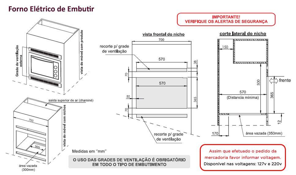 FORNO ELÉTRICO LADY DE EMBUTIR SAFANELLI 45L INOX  220 V